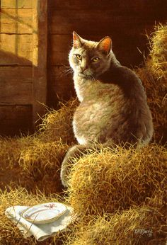 Big Gray's Barn and Bistro barn cat by artist Bonnie Marris available from Snow Goose Gallery