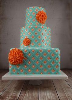 Tartas de Boda - Wedding Cake - retro aqua and coral double ring cake Gorgeous Cakes, Pretty Cakes, Cute Cakes, Amazing Cakes, Aqua Wedding Cakes, Orange Wedding, Persimmon Wedding, Wedding Favors, Tangerine Wedding