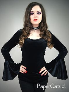 Blouse is made of black very fine black velvet. It has long, huge sleeves and oval neckline finished.  Ideal for underbust corsets and overbust and
