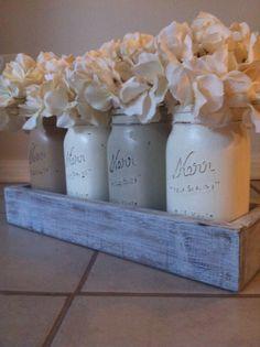 Rustic Mason Jar and wood box table Centerpiece by lilykayy