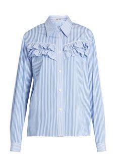 Striped ruffle-trimmed cotton-poplin shirt   Miu Miu   MATCHESFASHION.COM