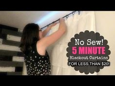 Creative Ideas - DIY Easy No Sew Blackout Curtains - i Creative Ideas Curtains Without Sewing, No Sew Curtains, Cheap Curtains, Drop Cloth Curtains, Cool Curtains, Rod Pocket Curtains, Black Out Curtains Diy, Winter Curtains, Burlap Curtains