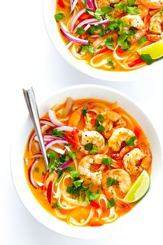 These Curry Noodle Bowls are easy to make with shrimp (or your favorite protein), and full of fresh, creamy coconut curry flavors that everyone will love.