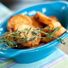 Roasted sweet potatoes bring out the full sweetness of the potato complimented with garlic and thyme. Please click on the photo in Yumgoggle to get to this delicious recipe. Enjoy!
