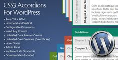 CSS3 Accordions For WordPress is a WordPress Accordions Plugin based on pure CSS3. It comes with intuitive admin panel, horizontal and vertical layout and color picker for unlimited color skins. You can put content of any type inside accordion expandable section including lists, images or any custom HTML code.