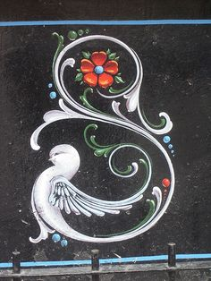 Letter S ♥ Part of norsk sleeve Rosemaling Pattern, Norwegian Rosemaling, One Stroke Painting, Arte Popular, Typography Inspiration, Fabric Painting, Painting Techniques, Painting Inspiration, Art Images