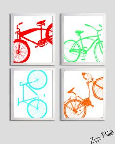 Bicycle Art Silhouette Neon set of 4 prints each 11x14