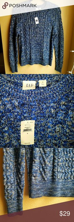 GAP Heavyweight Sweater Beautiful blue and black knit crewneck sweater by GAP. Heavyweight. 100% cotton. True to size (S).  Brand new, never worn, tag still attached. GAP Sweaters Crew & Scoop Necks