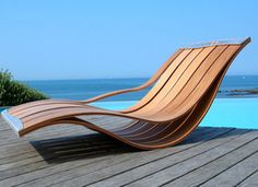 outdoor wooden lounge chair