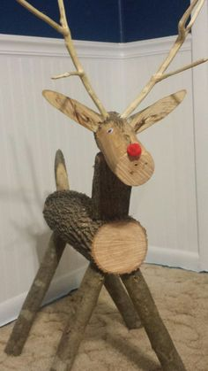 Billedresultat for how to make wooden reindeer out of logsFind More Inspirations About Wood Reindeer Crafts IdeasBildergebnis für reindeer from best images about Christmas Wooden Christmas Decorations, Christmas Wood Crafts, Outdoor Christmas, Rustic Christmas, Christmas Projects, Holiday Crafts, Christmas Crafts, Christmas Ornaments, Wood Reindeer