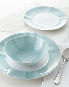 12-Piece Brushstroke Dinnerware Service & Terra Dinnerware Set - Light Blue | Dinnerware Lights and Stoneware