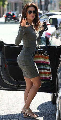 Eva Longoria street style in tight dress and flats