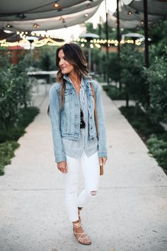 denim jacket, madewell striped shirt, white skinnies