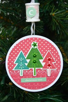 Remember the Good Times: Altered Project: Upcycled Ribbon Spool Ornament using @Echo Park Paper Holly Jolly designed by Lisa Swift