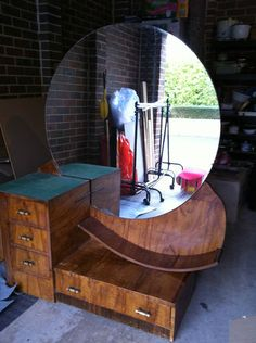 Art Deco Vintage Dressing Table with Round Mirror | eBay