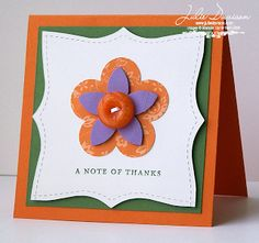 Julie's Stamping Spot -- Stampin' Up! Project Ideas Posted Daily: Square Top Note Thank You