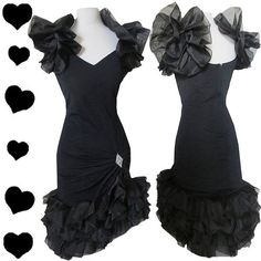 Vintage 80s Black Ruffled Prom Cocktail Party Dress M Tiered Cha Cha Ruffle Glam | eBay