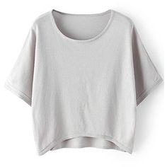 LUCLUC High Low Gray Batwing Sleeve Knit T-shirt