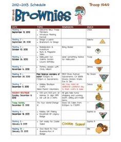 a Brownie troop's calendar layout