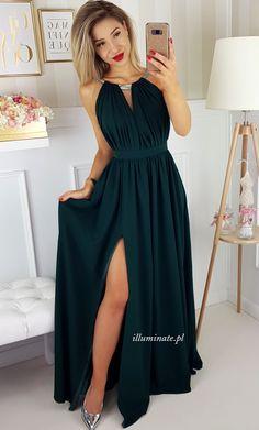 Elisa długa sukienka butelkowa zieleń Sklep Illuminate 389zł