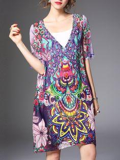 #AdoreWe #StyleWe Dresses - ELENYUN Multicolor Two Piece Tribal Vintage Mini Dress - AdoreWe.net