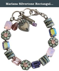 """Mariana Silvertone Rectangular Flower Crystal Bracelet, 7"""" """"Iris"""" Purple Multi Color 4099 1327. About Mariana Jewelry: Mariana believes what music is to the ear, color is to the eye. Her exquisite creations make the woman who wears them glow with confidence and love for life. Since 1997, her exuberant sense of color and unexpected fusion of old and new, crystal and stone, material and spirit, have been the very heart and soul of her creative vision. Mariana jewelry is made with components…"""