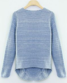 Blue Long Sleeve Cable Knit Pullover Sweater -