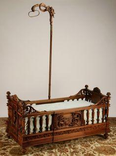 carved walnut bed by Frullini : Lot 175 Inexpensive Furniture, Unique Furniture, Vintage Furniture, Furniture Design, Vintage Pram, Vintage Nursery, Antique Nursery, Baby Furniture, Furniture Movers