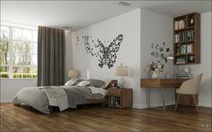 déco murale papillon, meuble bureau en bois et literie en blanc et gris dans la chambre à coucher
