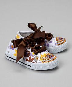 Modern Baby :: Bubblegum Diva White Flower Power Bling Canvas Sneaker