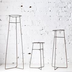 Wire pot plant stands standing at three different heights and suited to a range of pot shapes and sizes. Potted Plants, Indoor Plants, Rustic Charm, Decorative Objects, Bar Stools, Plant Stands, Steel, Home Decor, Nifty