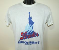 Stroh's beer run Statue of Liberty vintage 1984 white Sportswear t-shirt Tall Small/Medium