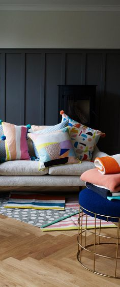 Liven up muted colour schemes and double up in style with our rectangular Mati Stripe Pom Pom Cushion.