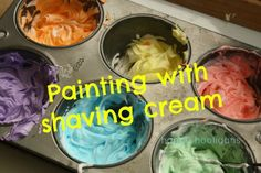 Painting with shaving cream... I did this activity on a kiddie picnic table many years ago when babysitting. Clean up = a hose. Today my kids 'paint' our bathtub tiles! They LOVE it!