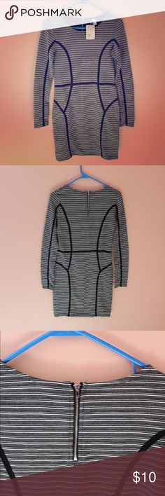H&M Black and White Bodycon Dress Brand new, never worn black and white striped bodycon dress by H&M. Super cute for a night out or a casual day date! H&M Dresses Mini