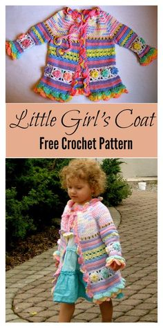 The Little Girl's Colorful Summer Coat Free Crochet Pattern is very well written with photos to guide through. It's a great project if you want to advance your crochet skills. Pull Crochet, Crochet Coat, Crochet Jacket, Free Crochet, Crochet Toddler, Baby Girl Crochet, Crochet For Kids, Crochet Baby Sweaters, Crochet Baby Clothes