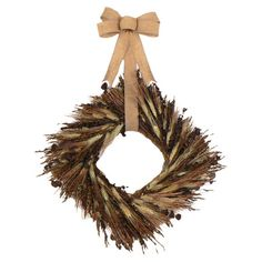 Hanging from a burlap ribbon, this square wreath features wheat, Sudan grass, and eucalyptus.   Product: WreathConstructio...