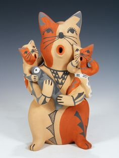 Jemez Pueblo Pottery Storyteller Cat Family by Emily Tsosie Fragua
