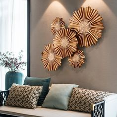 Buy New Chinese style wall decoration pendant living room wall decoration porch wall hanging wall Southeast Asia three-dimensional wall mural in Wall Hanging Living Room, Metal Wall Decor, Wall Decor Living Room, Gallery Wall Design, Home Decor, Room Decor, Metal Tree Wall Art, Wall Design, Area Rug Decor