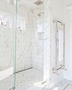 Do you like the heated towel bar marble bathroom, marble mosaic, hexagonal mosaics, subway tiles, polished nickel bathroom hardware Bad Inspiration, Bathroom Inspiration, Small Bathroom, Bathroom Marble, Marble Mosaic, Bathroom Ideas, White Bathrooms, Shower Ideas, Bathroom Designs