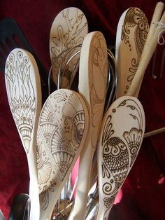Celtic Dragon Spoon Set in Pyrography - Made to Order. $45.00, via Etsy.
