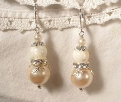 """Vintage Ivory Pearl, Crystal and Mother of Pearl Silver Bridal Dangle Earrings by """"AmoreTreasure"""" on Etsy"""
