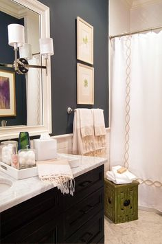 Bathroom-love the super dark walls with all the white. PERFECT!!! just need to find the shower curtain? and paint color?