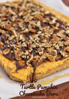 Turtle Pumpkin Cheesecake Bars, Celebrate fall with these Pumpkin Cheesecake Bars with caramel, chocolate and pecan turtle topping! The combination is unbelievably incredible! #pumpkindessert #pumpkinrecipes #fallrecipes #pumpkincheesecake #pumpkin