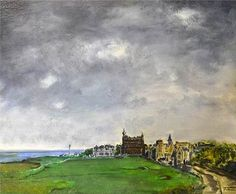 """Tad ( Scottish School ) """"St Andrews, Fife from The 17th on The Old Course, 1971"""""""