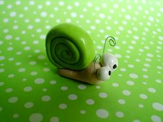 Green Snail Garden Insect Bug Summer Polymer Clay by MyWillies, $15.00