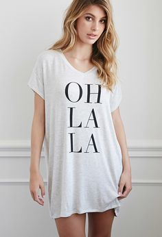 "Forever 21 Oh La La Nightdress | Heather Grey/Black | A plush bed, silky-soft sheets, and an uber-comfy heathered nightdress - now that's the trifecta that has us saying ""Oh La La"". Which is why, naturally, that same phrase finds its place on the front of this piece of sleep-ready perfection."