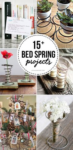 Old Bed Spring Crafts for the Vintage Lover Vintage lovers rejoice! Vintage Bed Spring Crafts to inspire you. From picture holders to vases Bed Spring Crafts, Spring Projects, Spring Art, Fall Crafts, Diy And Crafts, Old Bed Springs, Mattress Springs, Old Beds, Upcycled Crafts