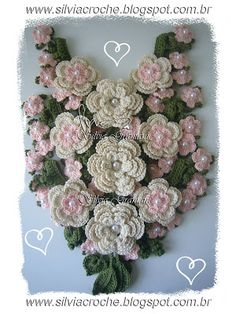 A Beautiful floral flower collar made with lots of leaves and Irish crochet roses!!   :)