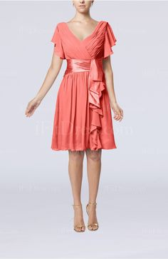 coral bridemaid dresses | Coral Modest A-line Zip up Knee Length Pleated Wedding Guest Dresses ...